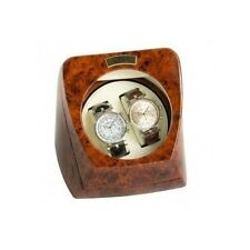 New Double Watch Winder Dual Watchwinder Case Wood Leather Holder Rolex Gift Box