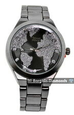 gunmetal world map clubbing watch dial link bracelet unisex teen boyfriend