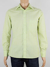 Jeff Banks mens size small short sleeve white green checked shirt (M5007)