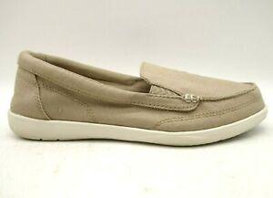 Crocs Logo Triple Comfort Beige Canvas Casual Slip On Loafers Shoes Women's 9