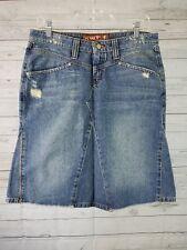 Hint Jeans Womens Denim Skirt Sz 9 Distressed