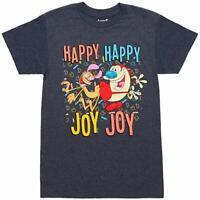 Nickelodeon Ren Stimpy Happy Happy Joy Joy Funny Retro Mens T Shirt S-2XL
