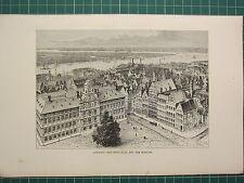 c1890 ANTIQUE PRINT ~ ANTWERP ~ TOWN-HALL & THE SCHELDE