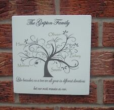 shabby vintage chic family tree plaque personalised names sign 8x8