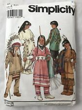 Simplicity Pattern 9145 Native American Child's Costume Halloween Size A Uncut