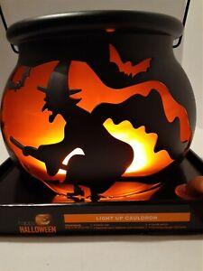 "Halloween Black Witch Cauldron 9.25"" Battery Operated LED Lights Up Orange NIB"