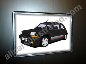 RENAULT 5 GT TURBO FRIDGE MAGNET (LARGE). CHOOSE YOUR CAR COLOUR.