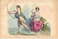 1858 DIANA CERERE Ceres mitologia romana Roma litografia colore coevo