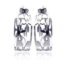 Stainless Steel Flower Design Semi Hoop Earrings