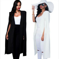 Women Long Poncho Cape Coat Jacket Blazer Suit Shawl Plus Cloak Cardigan Outwear