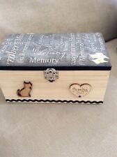 CAT PET IN LOVING MEMORY WOODEN BOX ASHES CASKET PERSONALISED GIFT Keepsake 20cm