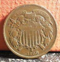 Better Date 1868 Copper Two Cent Piece