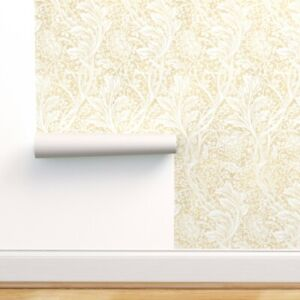 Removable Water-Activated Wallpaper White Floral Victorian Neutral Arts