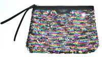 Victoria's Secret Clutch Bag Purse Sequin Cosmetic Bag Pouch Faux Leather Zipper