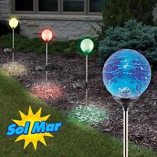 Solmar Outdoor Color Changing Crackled Glass Globe Solar LED Lights - 4 Pack
