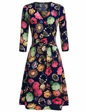 """""""MARINDA"""" GORGEOUS LADIES NAVY BLUE FLORAL JEWEL SIZE 8 CROSSOVER DAY DRESS"""