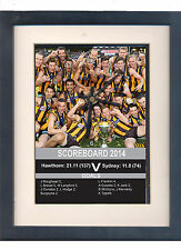 Hawthorn 2014 Grand Final. Framed print and clock. AFL Premeirs Hawks