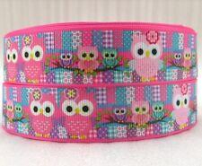 "5 Yards 1"" Pink Owls Printed Grosgrain Ribbon Hair Bow Supply"