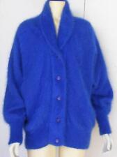 Venesha Angora Fur Sweater Jacket Fluffy Cobalt Button Up Cardigan Loose Fit S M