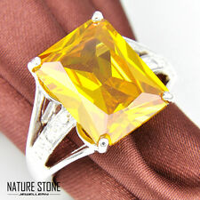 Woman Party Huge Square Cut Natural Golden Citrine Gems Silver Rings Size 7 8 9
