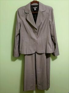 ANN TAYLOR Black Gray Birdseye Signature Fit Pants Jacket Suit Size 12