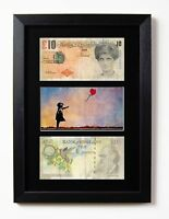TWO FRAMED MOUNTED DI FACED TENNERS £10 NOTE BANKSY BALLOON GIRL PRESENTATION