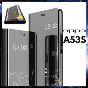COVER FLIP PER OPPO A53S CUSTODIA LIBRO NERA A SPECCHIO A53 S CLEAR VIEW 360°
