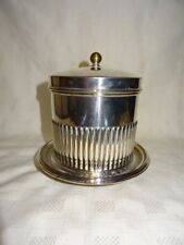 Vintage Attractive Silver Plated Biscuit Barrel - 3 Bun Feet - Hinged Lid