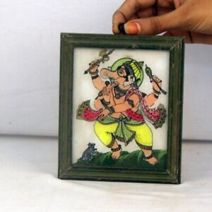 Beautiful Dancing Ganesha painted Wooden Glass Print Framed Collectible 11238
