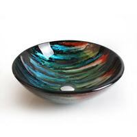 Ocean Sense Multi Color Round Bowl-Shape Tempered Glass Bathroom Vessel Sink