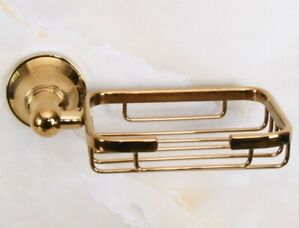 Gold Color Brass Wall Mounted Bathroom Soap Dish Storage Holder Basket Zba885