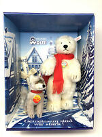 "Steiff POLAR BEAR and WOLF Set Mohair 12.59"" (32cm) for Paul Wolff Retail Store"