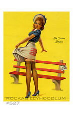 Pin Up Girl Poster 11x17 Retro park bench stocking nylons
