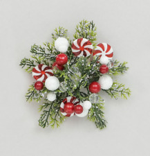 """Candle Ring 1"""" Christmas Decoration 'Candy Cane' Fits Dinner Candles"""