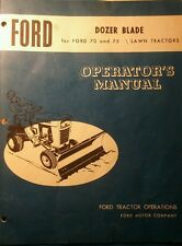 Ford 70 75 Lawn Tractor Ridimg Mower Dozer Snow Plow Owner & Parts Manual 12pg