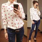 Mujeres ol collared beso impreso gasa blusa de manga larga camisa de botones
