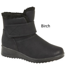 LADIES WEDGE ANKLE BOOT WARM COMFORTABLE ZIP  BLACK FASHION