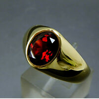 925 Sterling Silver Red Garnet Gemstone Signet Gold Plated Mens Ring US 4 TO 12