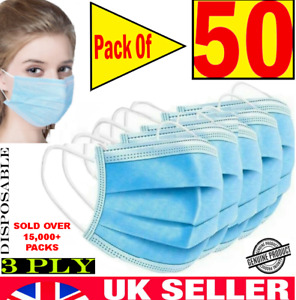 -50 x 3 PLY DISPOSABLE FACE MASK - NON SURGICAL BREATHABLE MOUTH GUARD COVER UK