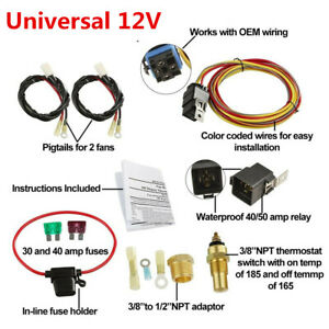 """3/8""""NPT Switch Car Dual Electric Fan Wiring Harness 185/165 Thermostat 40A Relay"""