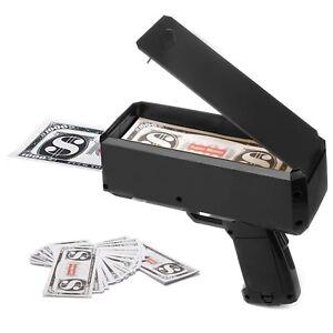 Cash Cannon Money Gun w/100pcs Replica Toy Bills Beach Party April Fool Black