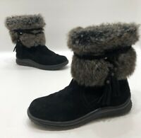 Minnetonka Womens Black Suede Leather Faux Fur Winter Boots Size 6