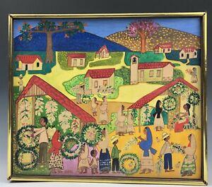 Mid Century MAYA SALARUEBE Salvadorian Folk Art Villiage Scene Painting NR SMS