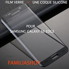 Tempered Glass Film Integral Curved Black Samsung Galaxy S6 Edge+ Silicone Cover