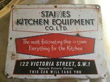 Rare Original. Staines Kitchen Equipment Victoria St. London. Enamel Sign