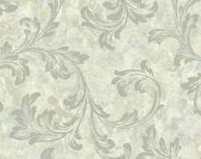 Wallpaper Designer Gray Acanthus Leaf Scroll w Silver Glitter on Lt Beige Faux