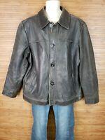 Merona Brown 100% Leather Bomber Jacket Mens Size XL