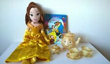 "Disney / Beauty and the Beast / 19"" Belle Plush Doll + Mrs Potts Tea Set + Book"