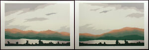 "Jim Boutwell ""Shadow Mountain I&II"" Diptych 2 Hand Signed Serigraph Art Prints"