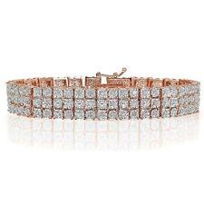 18K Rose Gold Natural Miracle Sets 3-Row Tennis Bracelet Lab Diamond on Brass